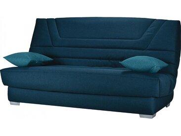 Banquette clic-clac tissu bleu nuit matelas 130x190 Bultex mousse HR