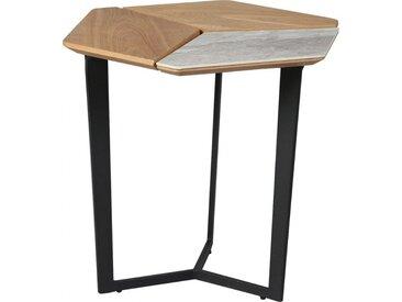 Bout de canapé plateau plaqué chêne et céramique piétement métal noir