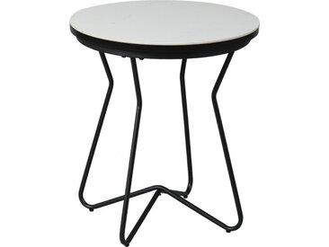 Bout de canapé plateau céramique blanc piétement acier noir
