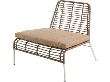 Fauteuil lounge rotin kubu pieds métal blanc