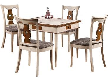 Ensemble table carrée de jeux merisier 4 chaises