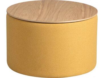 Pouf coffre rond tissu jaune avec couvercle frêne