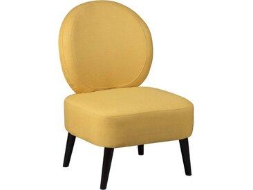 Fauteuil crapaud tissu jaune moutarde dossier rond