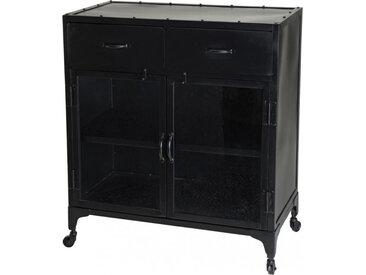 Buffet industriel métal noir 2 portes 2 tiroirs