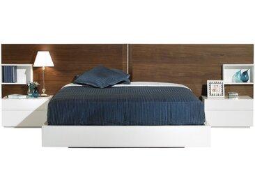 Lit design 160x200 laqué blanc brillant