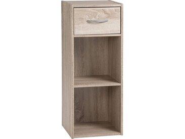 Etagère de rangement ton chêne 1 tiroir 2 niches