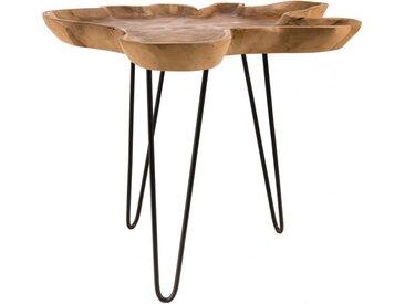 Table d'appoint plateau forme naturelle pieds épingles acier noir