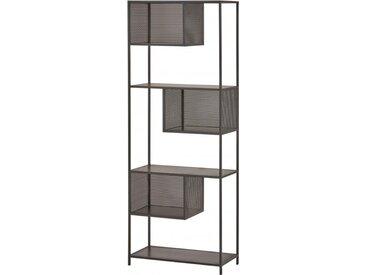 Bibliothèque ouverte manguier massif 3 étagères 3 niche cadre métallique noir