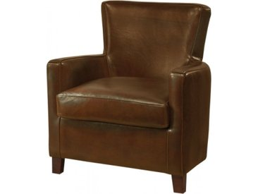 Fauteuil club British Style Miranda cuir basane marron