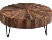 Table basse ronde plateau bois recyclés pieds métal noir