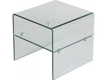 Bout de canapé design en verre trempé courbé 1 rayon