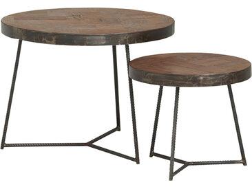 Lot de 2 tables d'appoint gigogne ronde teck massif plateau mosaïque