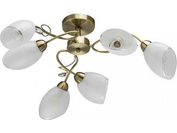 Plafonnier en métal blanc laitonné antique et verre 6 ampoules - Classic