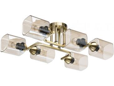 Plafonnier en métal doré teck laitonné antique et verre 6 ampoules - Megapolis