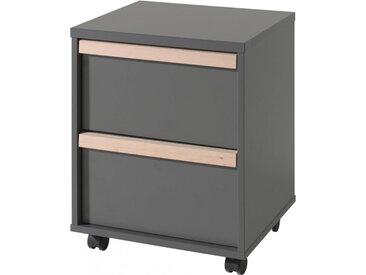Caisson de bureau anthracite 2 tiroirs de rangement poignée ligne bois clair avec roulettes