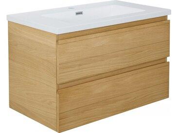 Meuble vasque mural chêne naturel 2 tiroirs