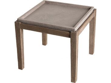 Table d'appoint carrée L50cm béton gris pieds acacia