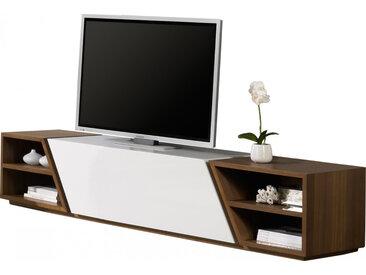 Banc TV design laque et noyer 1 porte