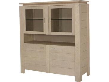 Buffet vaisselier 4 portes 1 niche chêne blanc pierre