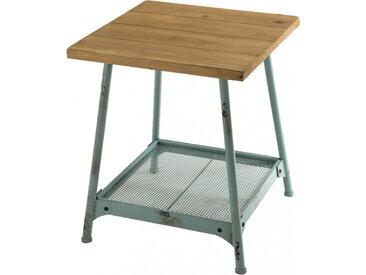 Table d'appoint scandinave double plateau sapin pieds métal bleu – HELINO