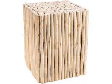 Table d'appoint carrée petites branches de teck naturel
