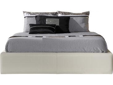 Lit design 140x190 simili cuir blanc