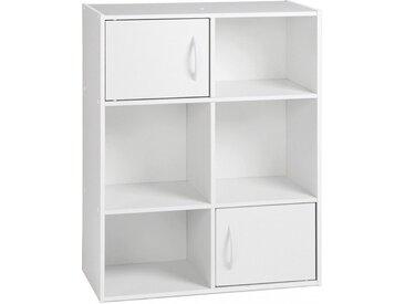 Etagère de rangement blanc 2 portes 4 niches