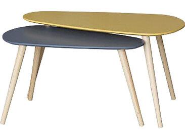 Table basse gigogne moutarde et bleu foncé piétement hévéa massif