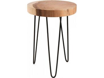 Table d'appoint ronde mungur naturel pieds épingles acier noir