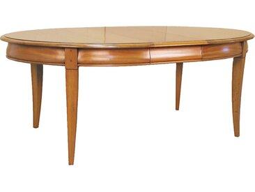 Table ovale  merisier L160 2 allonges pieds sabre