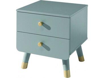 Chevet enfant gris 2 tiroirs de rangement pieds oblique doré