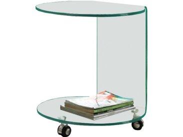 Guéridon design en verre trempé courbé double plateau sur roulettes