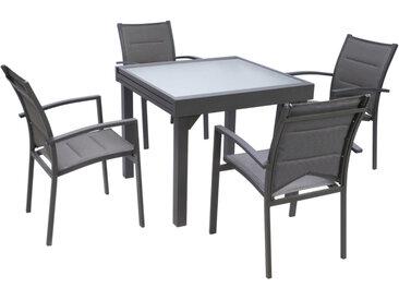 Ensemble Modulo 4 table carrée et 4 fauteuils aluminium gris
