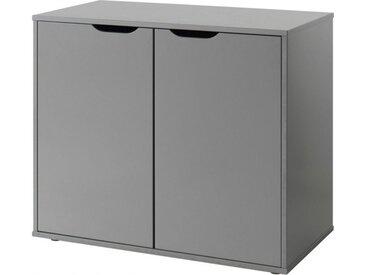 Commode enfant pin massif gris foncé 2 portes – PINO