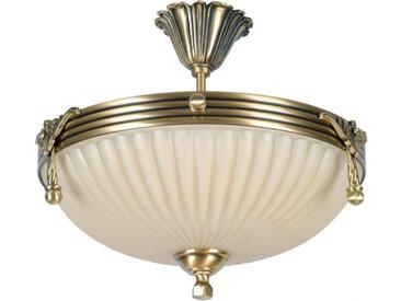 Plafonnier en métal laitonné antique et verre blanc 3 ampoules - CLASSIC