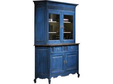 Buffet vaisselier chêne massif bleu 2 corps 2 portes pieds galbés