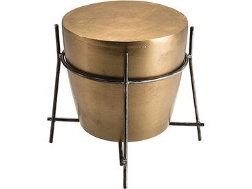 Table d'appoint ronde Ø45cm aluminium doré forme tambour pieds métal – JOHN