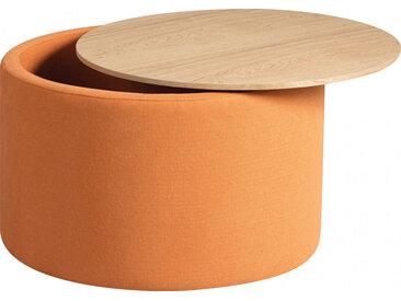 Pouf coffre ronde tissu orange avec couvercle frêne