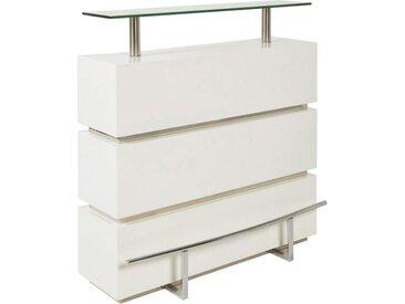 Meuble bar design blanc plateau verre support métal chromé