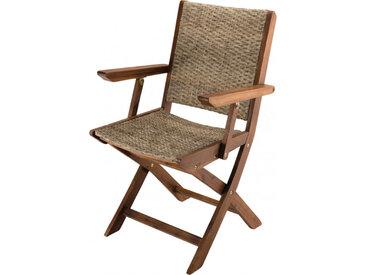 Lot de 2 fauteuils pliants rotin synthétique pieds acacia