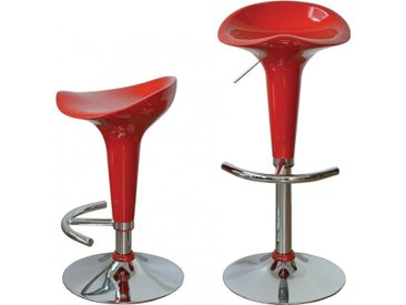 Tabouret de bar ABS rouge hauteur réglable