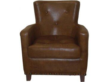 Fauteuil club Miranda boutonné cuir basane marron