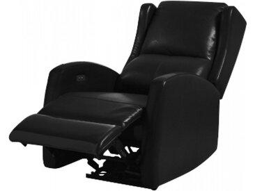 Fauteuil relax électrique cuir noir - BALI