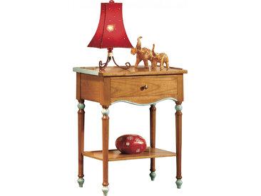 Table d'appoint merisier laquée 1 tiroir double plateau