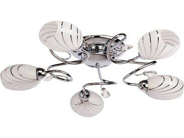 Lustre en métal chromé et verre blanc 5 ampoules - MEGAPOLIS