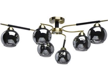 Plafonnier en métal  fumé noir et verre 6 ampoules - Megapolis