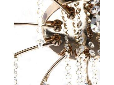 Plafonnier en métal transparent doré et verre 10 ampoules – Flora