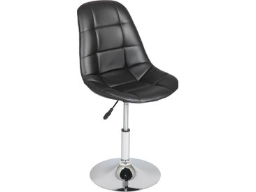 Chaise capitonnée assise réglable simili cuir noir