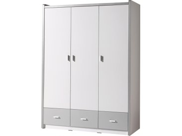 Armoire enfant laqué blanc et gris 3 portes 3 tiroirs