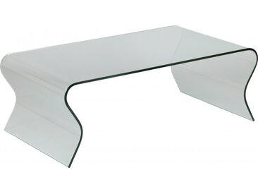 Table basse design en verre trempé courbé vagues